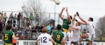 sport played between two teams of 15 players on a rectangular grass pitch. The objective of the sport is to score points by passing the ball through the other team's goals, a set of two upright posts separated by a crossbar 2.5 metres (8.2 ft) above the ground.